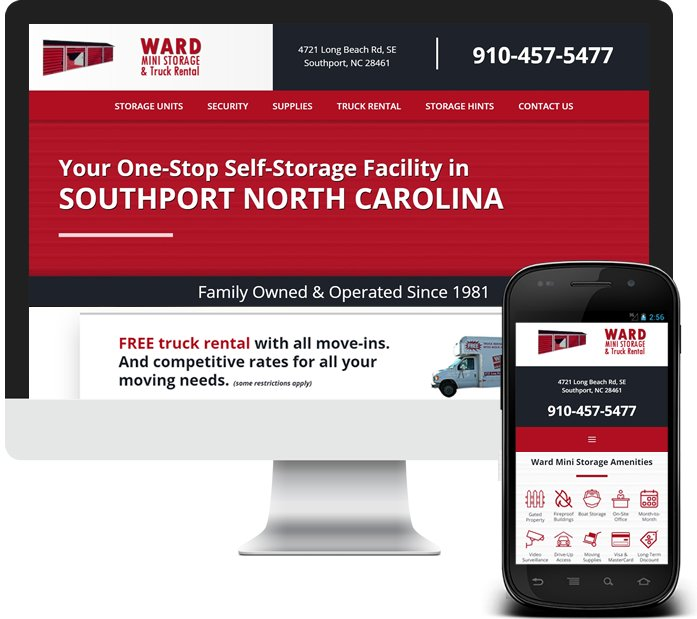 Southport NC - Custom Local Website for Storage Company